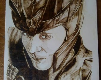 Hand burnt A4 plaque Loki