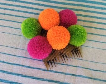 Bright and Funky  Pompom haircombs