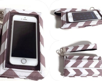 Phone Case, Grey Chevron iPhone X Wallet Wristlet, iPhone Wristlet, iPhone 7 Case, Samsung Galaxy Note Case, iPhone 6 case, Phone Cases