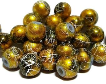 Gold Round 8mm Glass Beads - 25pcs