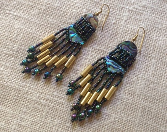 Vintage shell and bead earrings, 1980s