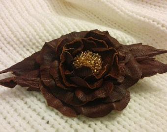 Leather flower brooch pin - Handmade brown leather flower with yellow beads middle