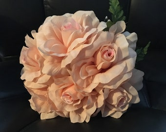 Peach Roses Silk Floral Bouquet