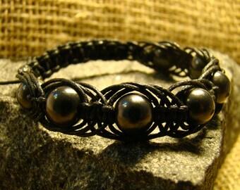 "Bracelet Shungite ""Arachne"" of beads 12 mm. from Karelia."