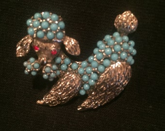 Brooch Silver and Blue Stone Dog