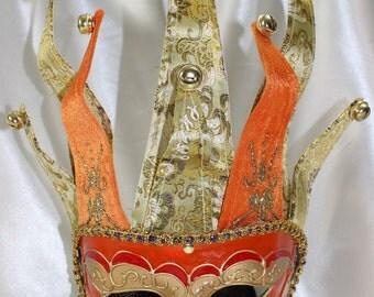 Mens Venetian Jester Orange Mask with bells Golden details & Arabesque Patterns - Quality Replica EM234