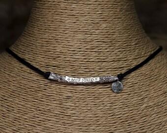 "Pendant Dulcinea ""WILD FOREST"" - silver and lace black cotton"