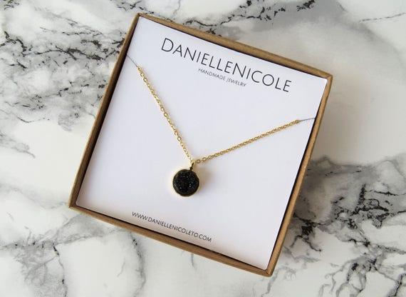 Black Druzzy Pendant Necklace, Druzzy Necklace, Black Pendant Necklace, Everday Jewelry, Boho Chic, Druzzy Pendant, Statement Necklace