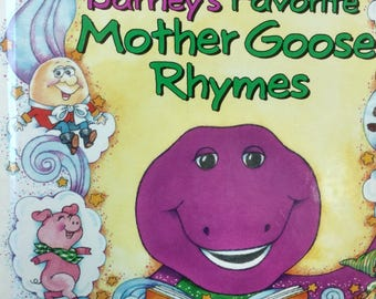 Vintage Barney & Friend's 'Barney's Favorite Mother Goose Rhymes' Hardcover Childrens Book
