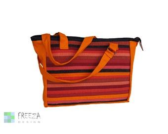 Shoulder jeans bag, orange, denim bag, eco friendly, upcycled