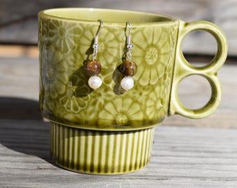 Tigereye and Freshwater Pearl Earrings