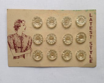 12 vintage glass buttons c1930s