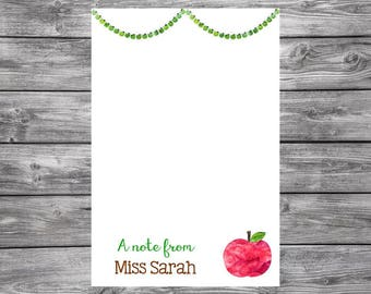 Personalized Teacher Notepad- A Note From- Apples- 4x6
