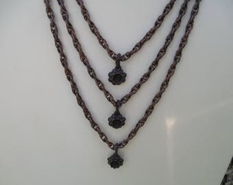 Boho Chic Antiqued Copper and Black Brass Necklace