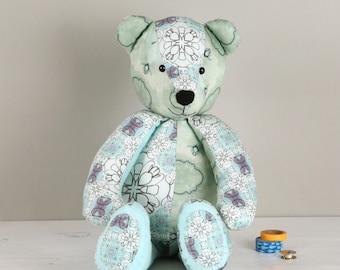 Printed Patchwork Teddy Bear Keepsake