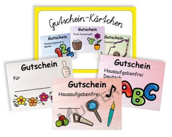 Voucher cards set - student friend children nursery school teachers
