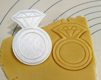 Diamond Ring Cookie Cutter and Stamp