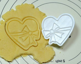 Ribbon Heart Cookie Cutter and Stamp