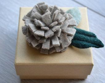 Handcrafted Felt Brooch - Carnation