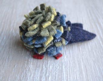 Handcrafted Felt Brooch - Blue Carnation