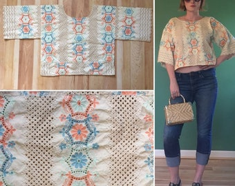 Vintage Embroidered Floral Top Size M