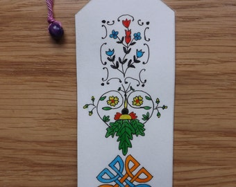 Original double-sided watercolor and pressed flower bookmark