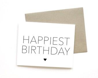 Happiest Birthday | Card || Greeting Card | Birthday Card | Friend Card | Sweet Card | Simple Card | Minimalist Card | Neutral Card