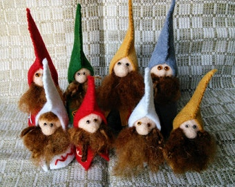Little needle-felted gnomes