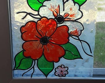 Floral Stain Glass Window made with Window Stain & Lead to create a beautiful picture