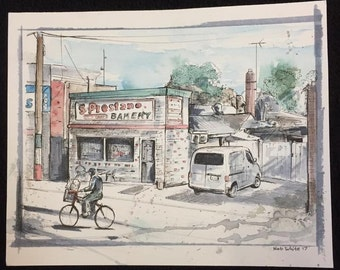 Prestano's Bakery - Here is a painting of The Prestano Italian Bakery in my Hometown of Selden New York.
