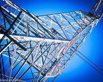 Looking up transmission powerline tower - color photography