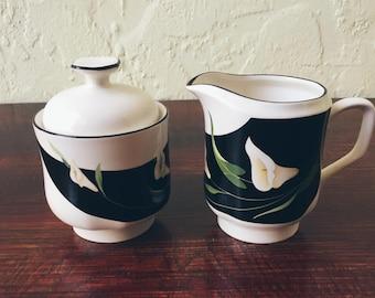 Sango Black Lilies (Quadrille) Creamer and Sugar Bowl Set