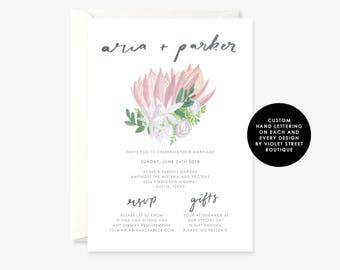 Botanical Printable Wedding Invitation, Native Australian Flower, Floral Illustration Wedding Invite, Printable Wedding Invitation,