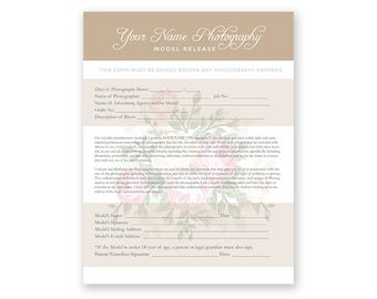 Elegant Model Release Form - Photoshop Template for Photographers - PSD *INSTANT DOWNLOAD*