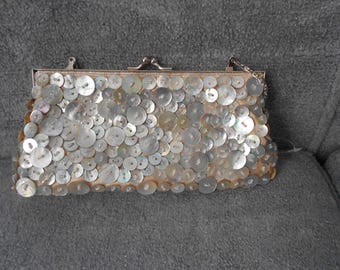 Vintage Button and  Seed Bead Evening Bag