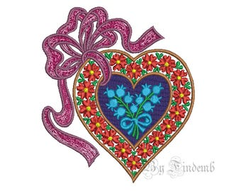Heart Embroidery Designs 8 size Instant Download