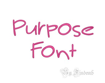 Purpose Embroidery Font Designs 5 size Instant Download