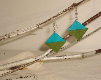 Graphic earrings leather full-grain lamb blue and green