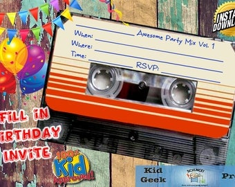 Guardians of the Galaxy GOTG Awesome Mix Cassette Tape Birthday Fill In Invitation! Unique invite!