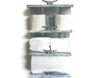 Coastal Decor Open Shelves for Rolled Bath Towel Rack-4 Tier Shelf for Bathroom-Beach Bathroom Shelves-Nautical Decor Reclaimed Wood Shelves
