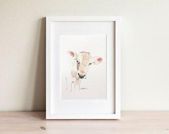 Illustration vache, Cow Illustration / fait main, handmade