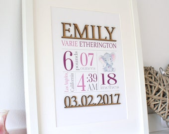 Birth Stats, Lilac Birth Stats, Baby Girl, Wood Cut, Nursery Decor, Custom Nursery Art, Birth Announcement, Baby Girl Gift, Purple, 8x10, A4