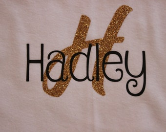Name with Monogrammed Letter Bodysuit