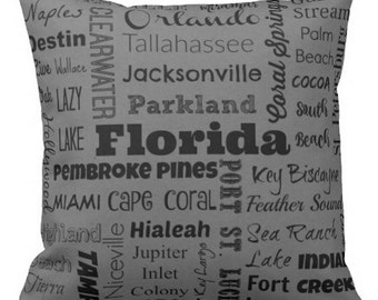 Florida cities pillow - FL typography throw pillow - red or gray decorative pillow - Fla. cushion - Fl. gift