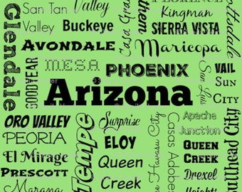 Arizona fabric - AZ cities typography fat quarter - Ariz. FQ - lime green or gray or light blue