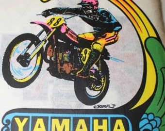 Vintage Yamaha Motorcycle Heat Transfer by Roach