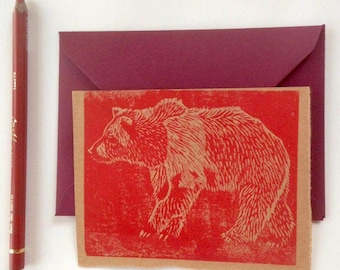lino print card, bear
