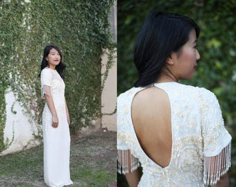 Reduced!! 1980's Silk Beaded & Sequined Gown with Cut Out Back