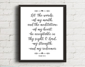 Christian Wall Art, Bible Verse Art, Psalms 19:14, Bible Verse Wall Art, Bible Verse Prints, Scripture Print, Black and White, Digital