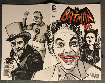 Batman '66 #23 ORIGINAL ARTWORK Variant Sketch Cover DC Comic Book Featuring The Joker The Penguin Catwoman The Riddler